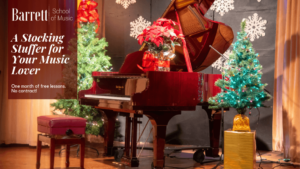Piano on a stage with christmas decorations