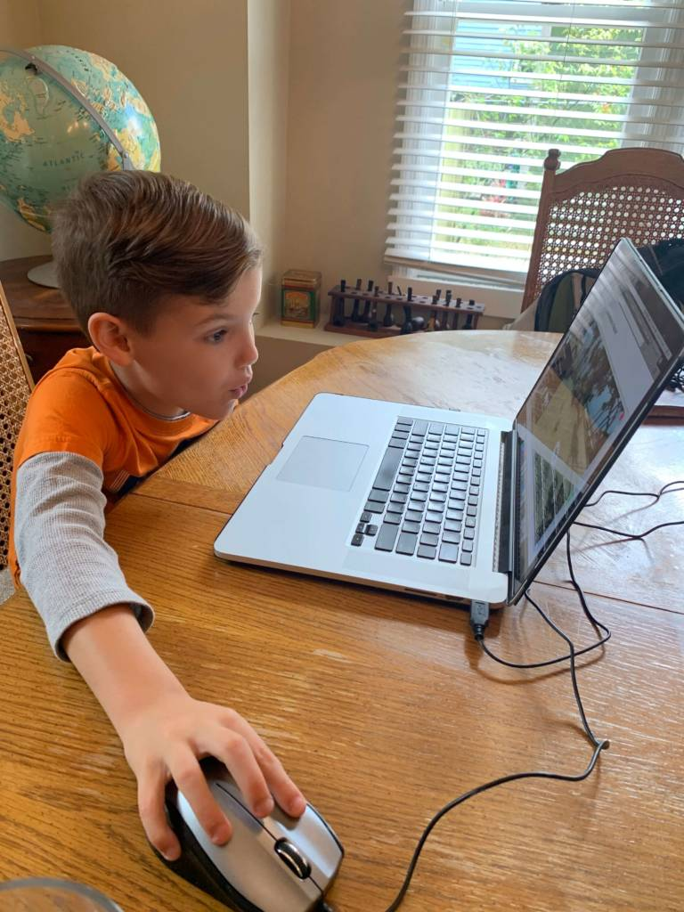 a boy taking online classes for kids